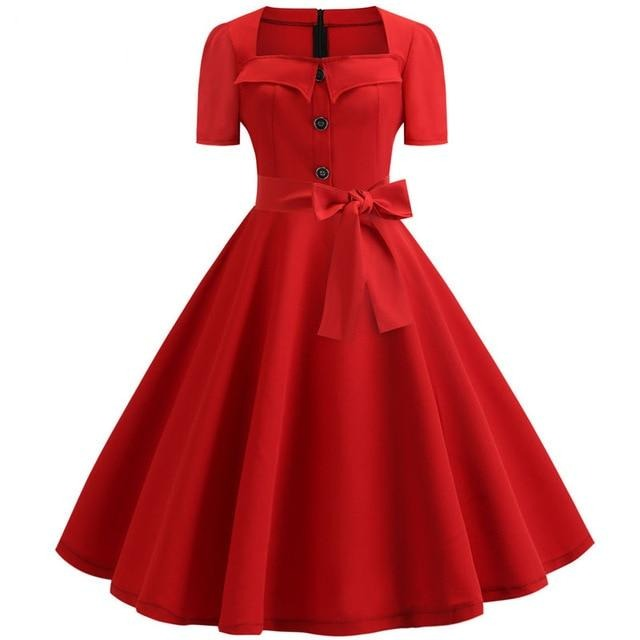 Red Square Collar Large Polka Dot Swing Dress