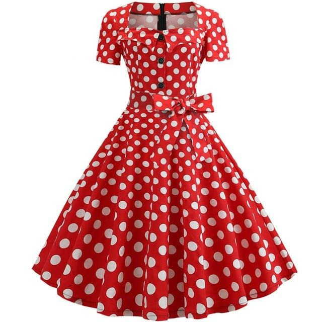 Red Large Polka Dot Swing Dress