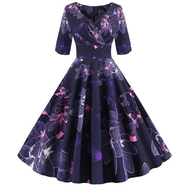 Violet 3/4  Sleeve Floral Print Dress With Wrap Collar
