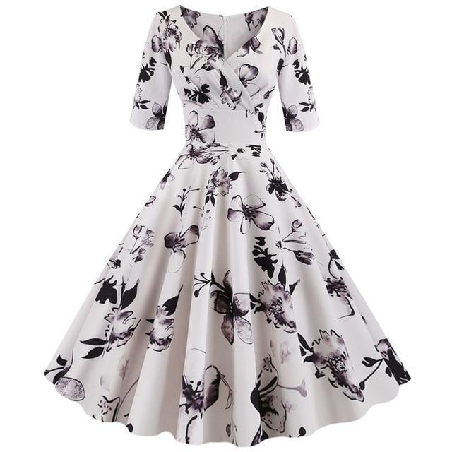 White V-Neck 3/4 Sleeve Floral Print Dress With Wrap Collar