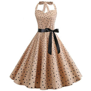 Dot Print 50s Dress With Halter Neck and Ribbon Belt