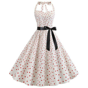 White 50s Dress With Red Dot Print, Halter Neck and Ribbon Belt