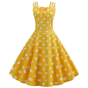 Yellow Dot Print 50s Dress With Halter Neck and Ribbon Belt