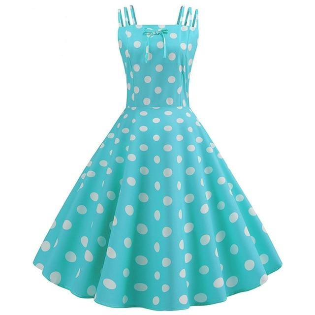 Blue Green Dot Print 50s Dress With Halter Neck and Ribbon Belt