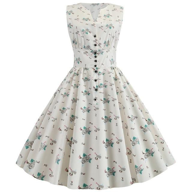 White Sleeveless A-line Polkadot Dress