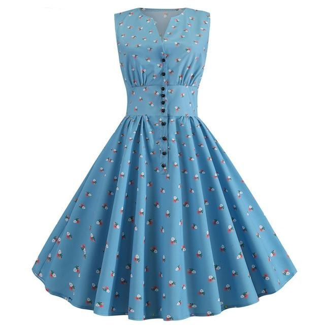 Blue Buttoned Sleeveless A-line Polkadot Dress