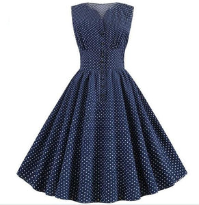 Blue Sleeveless A-line Polkadot Dress