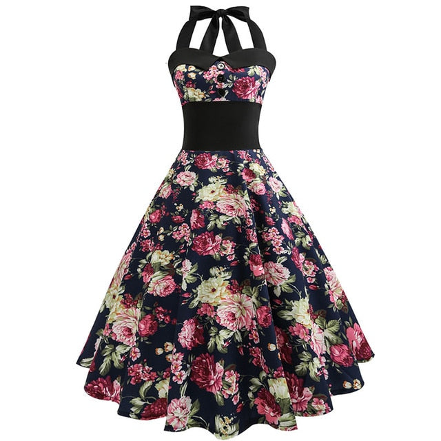 Black Polka Dot 50s Dress with Halter Neck and Rose Print