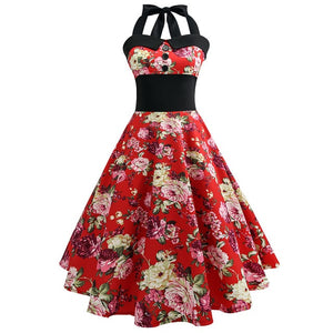 Red Polka Dot 50s Dress with Halter Neck and Rose Print