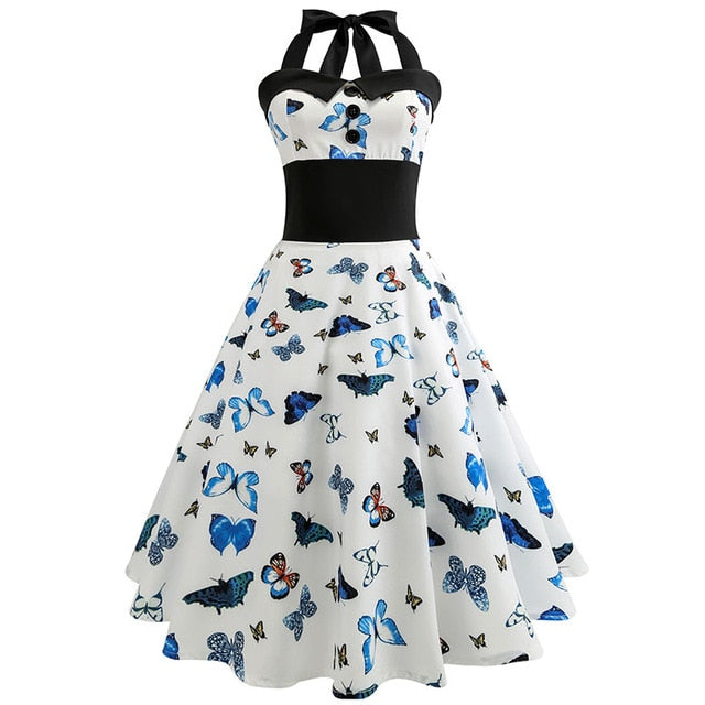 White Butterfy Print Polka Dot 50s Dress with Halter Neck