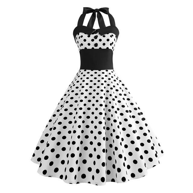 White Polka Dot 50s Dress with Halter Neck and Small Black Dot Print