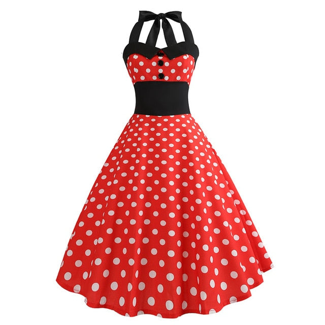 Red Polka Dot 50s Dress with Halter Neck and Small White Dot Print