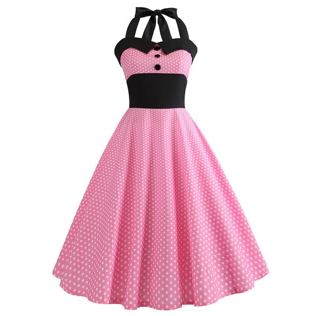 Pink Polka Dot 50s Dress with Halter Neck
