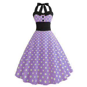 Violet Small Polka Dot 50s Dress with Halter Neck