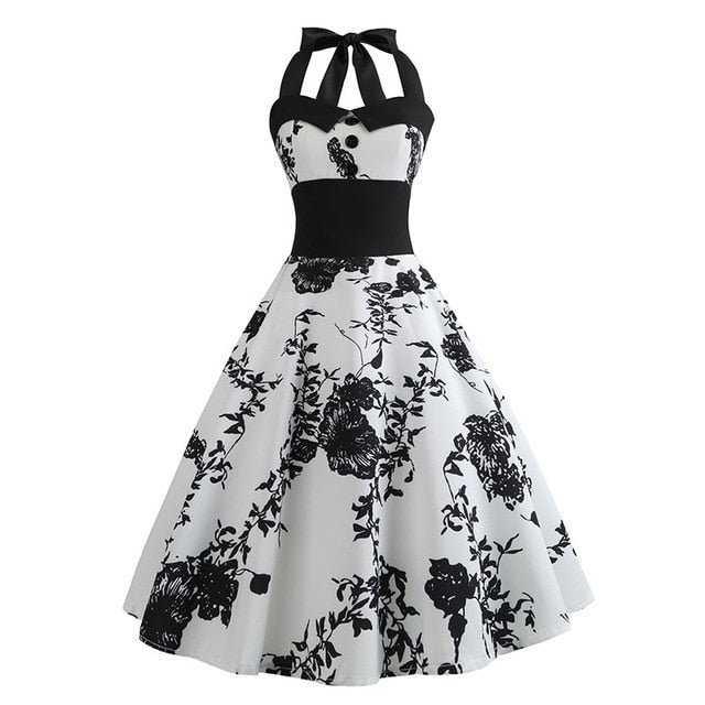 White Polka Dot 50s Dress with Halter Neck and Black Flower Print
