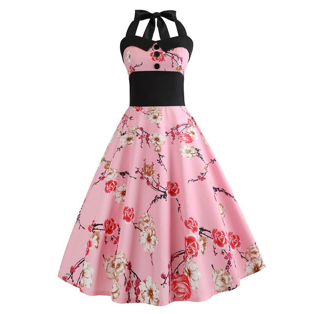 Pink Polka Dot 50s Dress with Halter Neck and Red White Rose Print