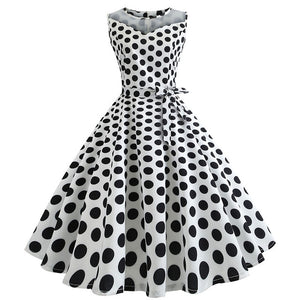 White 50s Dress With Black Dot Print, Halter Neck and Ribbon Belt
