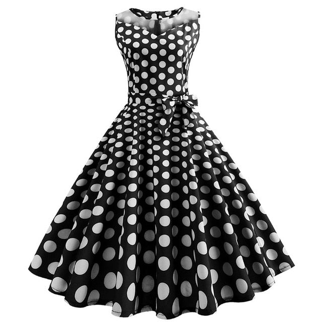Black 50s Dress With Manifold Small White Dot Print, Halter Neck and Ribbon Belt