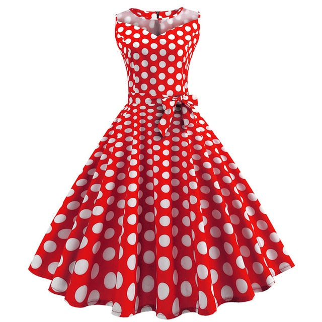 Red 50s Dress With White PolkaDots and Collar