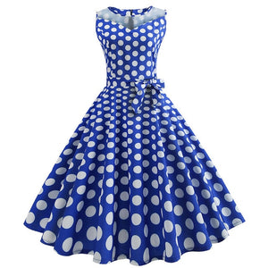 Blue 50s Dress With PolkaDots and Collar