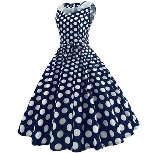 Dark Blue 50s Dress With White Dot Print, Halter Neck and Ribbon Belt