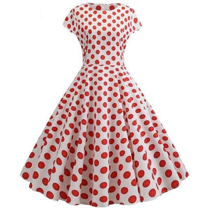 White Short Sleeved Boat Neck 50s Dress With Ribbon and Red Polkadot