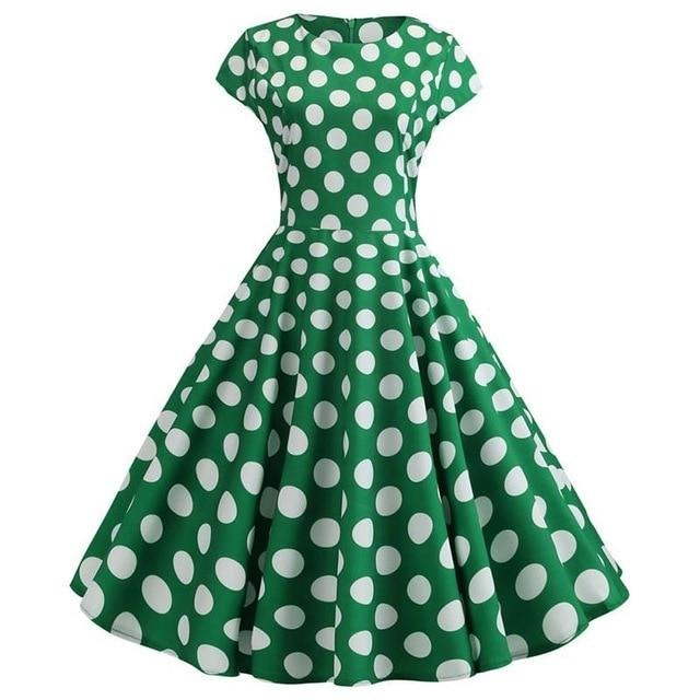 Green Short Sleeved Boat Neck 50s Dress With Ribbon and Small White Polkadots