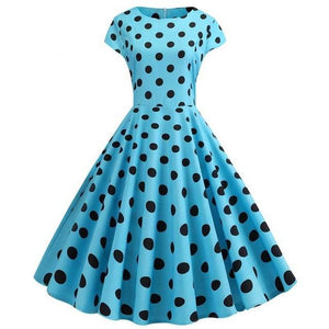 Blue Green Short Sleeved Boat Neck 50s Dress With Ribbon and Polkadot print