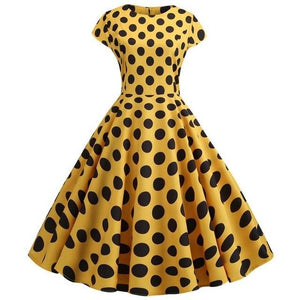 Yellow Short Sleeved Boat Neck 50s Dress With Ribbon and Black Polkadot
