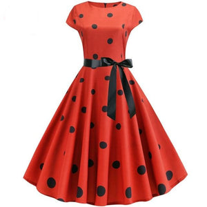Red Short Sleeved Boat Neck 50s Dress With Ribbon and Black Polkadot