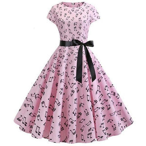 Short Sleeved Boat Neck 50s Dress With Ribbon and Musical Notes Print