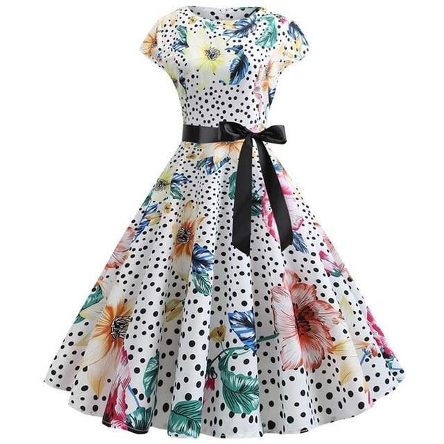 Flower and Polka Dot Blend Print Short Sleeved Boat Neck 50s Dress With Ribbon
