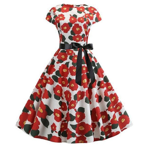White Short Sleeved Boat Neck 50s Dress With Ribbon and Red Floral Print
