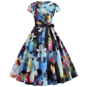 Floral Photo Print Short Sleeved Boat Neck 50s Dress With Ribbon
