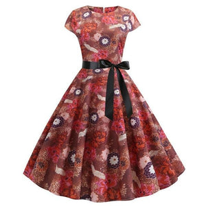 Red Feather and Rose Print Short Sleeved Boat Neck 50s Dress With Ribbon