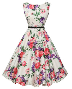 Orchid And Rose Print Black and White Floral Dress With Belt
