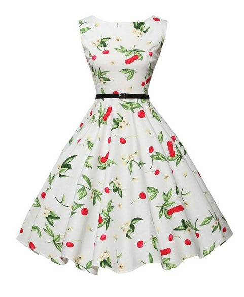 Cherry Print Black and White Floral Dress With Belt