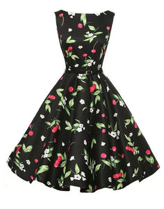 Cherry Print Design Black and White Floral Dress With Belt