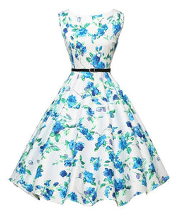 Blue Flower Black and White Floral Dress With Belt