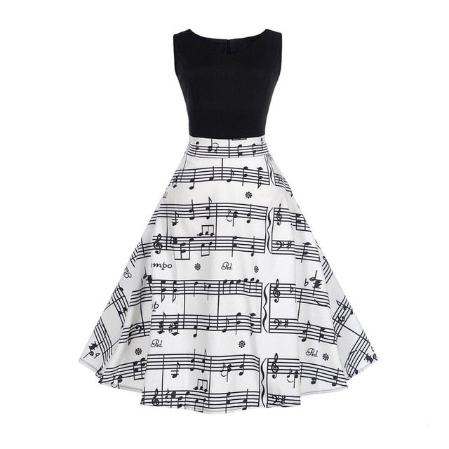 Musical Print Two Tone Sleeveless Floral Dress