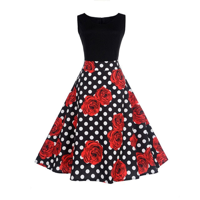 Red Rose and White Polkadot Print Two Tone Sleeveless Floral Dress