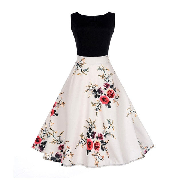 White Two Tone Sleeveless Floral Dress with Rose and Vines Print