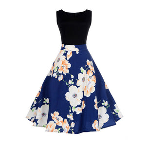 Blue Two Tone Sleeveless Floral Dress With Big Flower Print