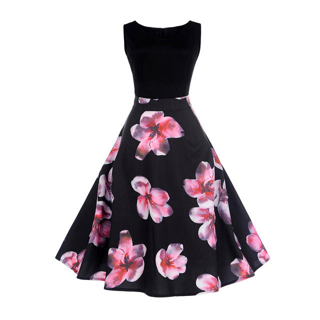 Black Two Tone Sleeveless Floral Dress With Big Flower Print