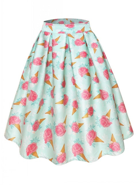 Pink Rose Patterned A-line Skirt with pleats