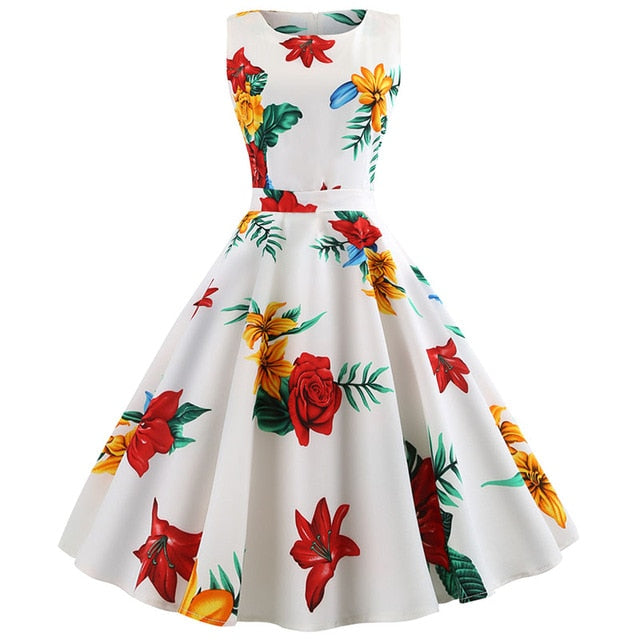 Big Red Rose Print with Pleated Skirt White Dress