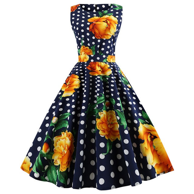 Rose and Dot print with Pleated Skirt Blue Dress