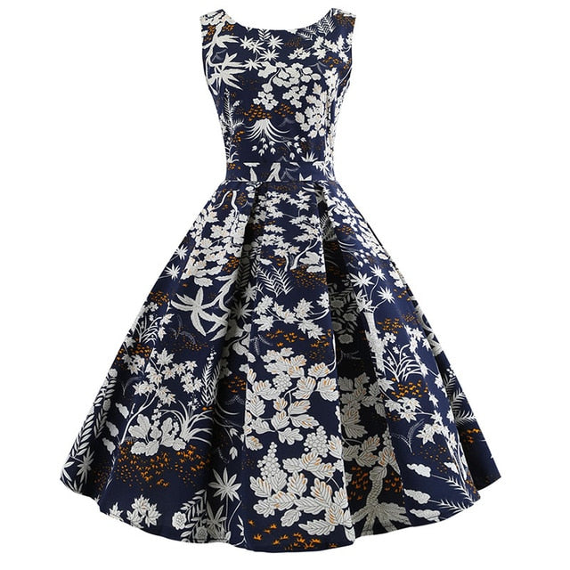 White Rose Print with Pleated Skirt Blue Dress