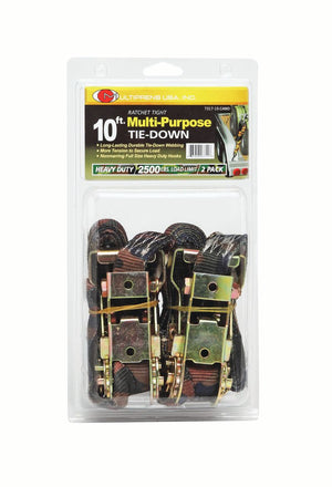 "CAMO - 1"" UTILITY RATCHET STRAP   10' WITH VINYL COATED S HOOKS"