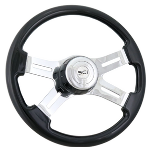 "16"" CLASSIC - BLACK PAINTED WOOD STEERING WHEEL WITH MATCHING BEZEL"